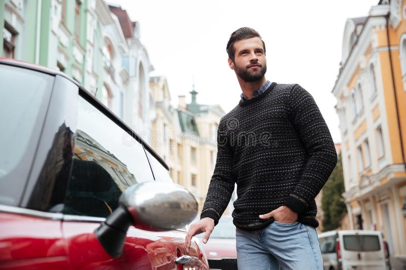 Portrait of a confident bearded man in sweater stock photo