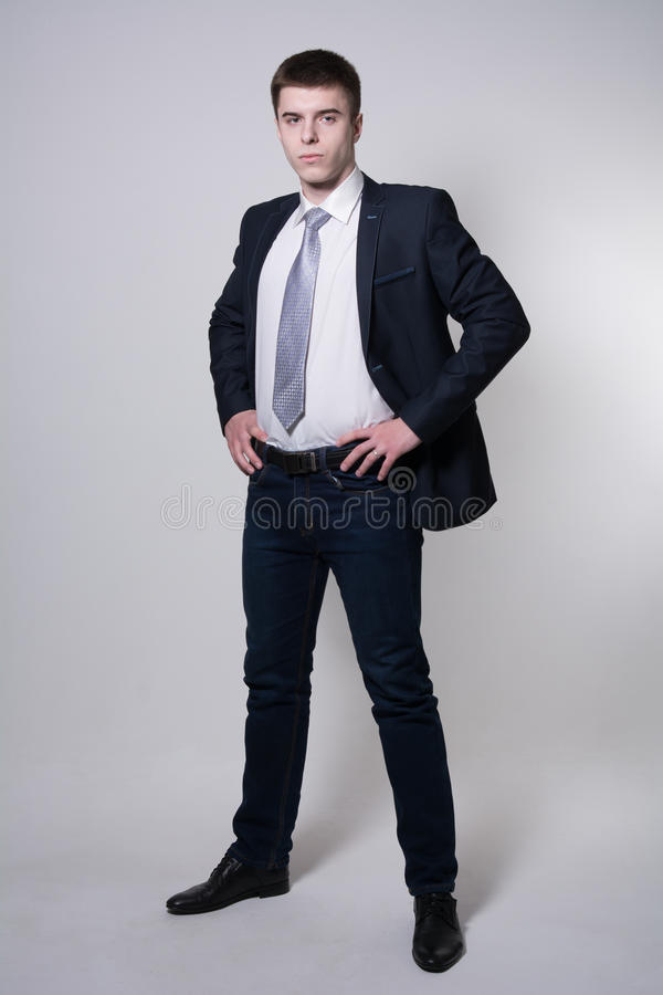 Portrait of confident business man in full growth stock photography