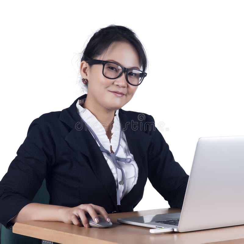 Portrait Of Confident Business Woman Sitting At The Table And Wo Stock Photos