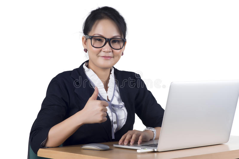 Download Portrait Of Confident Business Woman Sitting At The Table And Wo Stock Images - Image: 29023954