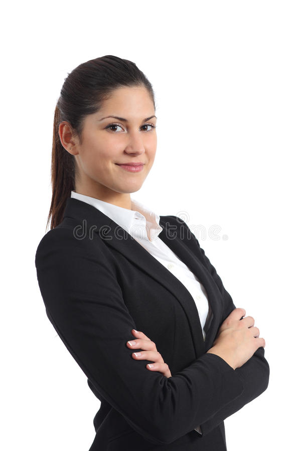 Portrait of a confident businesswoman. Isolated on a white background royalty free stock photography
