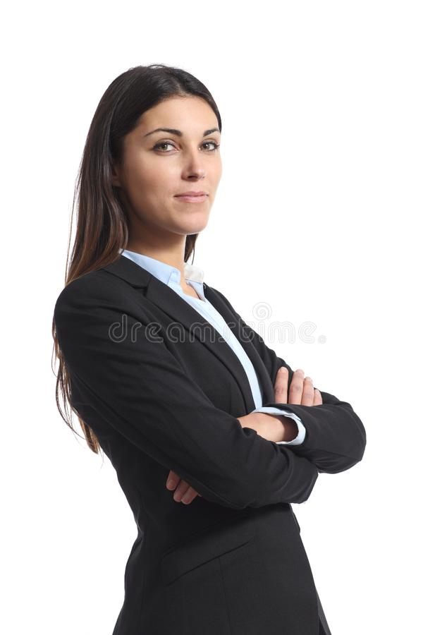 Confident businesswoman posing isolated on white royalty free stock photography