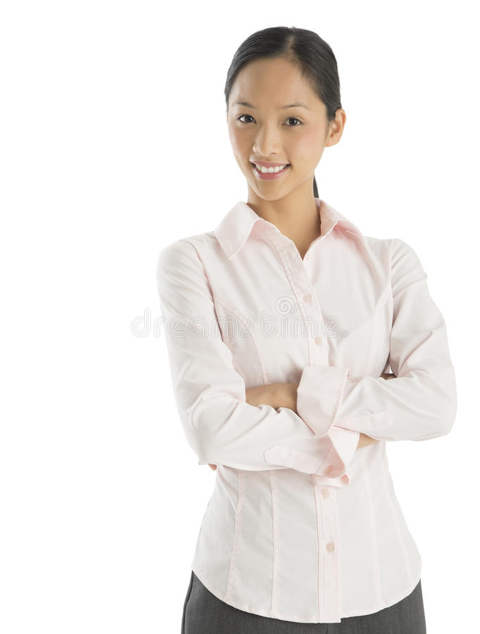 Portrait Of Confident Businesswoman Standing Arms Crossed royalty free stock images