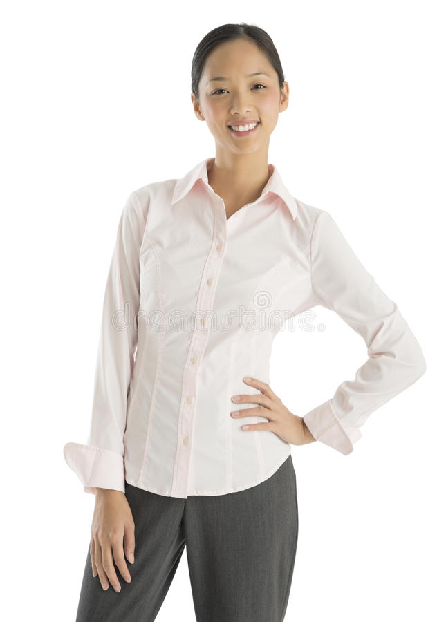 Portrait Of Confident Businesswoman Standing With Hand On Hip stock images