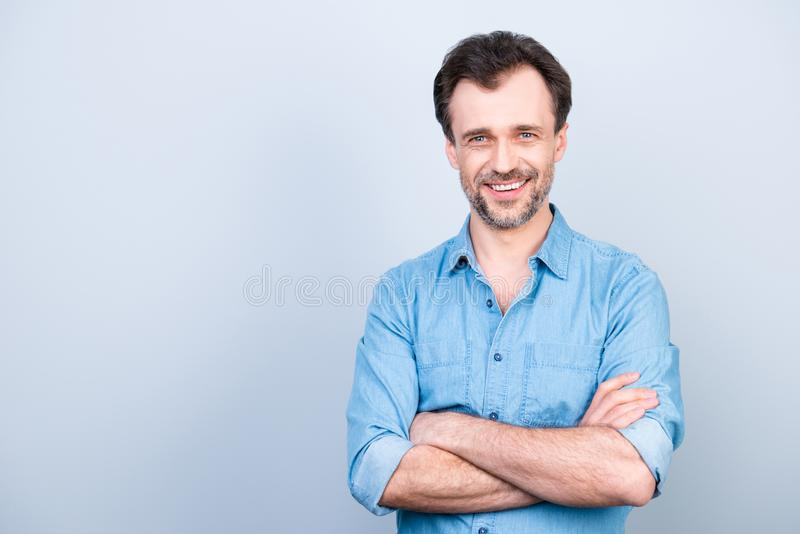 Portrait of confident concentrated cheerful excited glad with sh royalty free stock photo