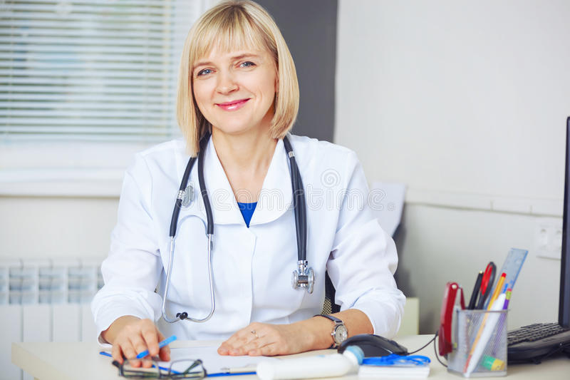 Portrait of confident doctor looking at camera. This is Portrait of confident doctor looking at camera stock image
