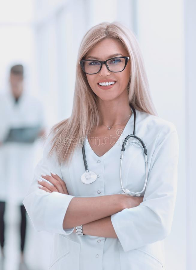Portrait of confident female doctor with a stethoscope royalty free stock photo