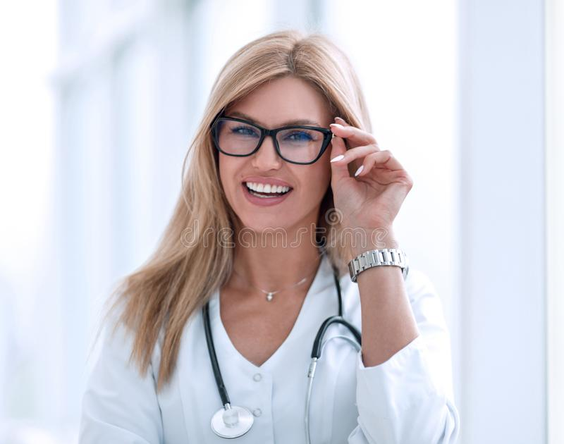 Portrait of confident female doctor with a stethoscope royalty free stock images