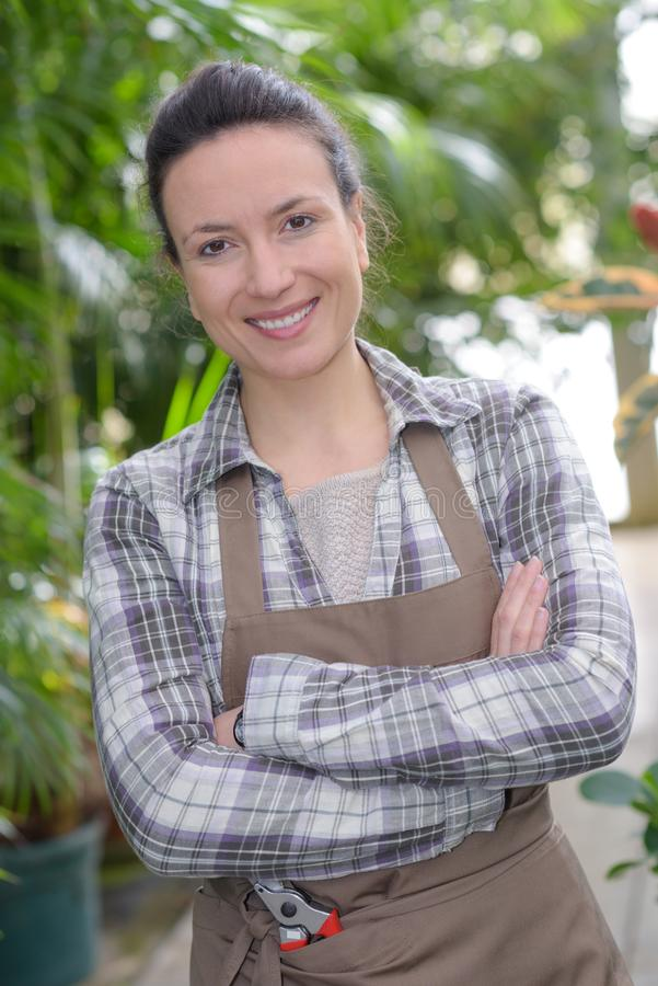 Portrait confident female gardener standing by plants royalty free stock image