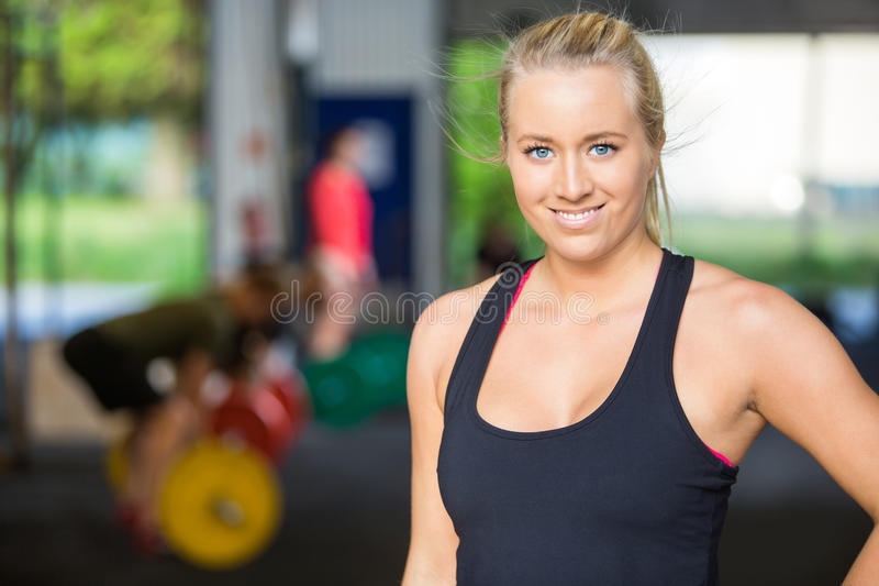 Portrait Of Confident Fit Woman at Cross-Fitness royalty free stock photo