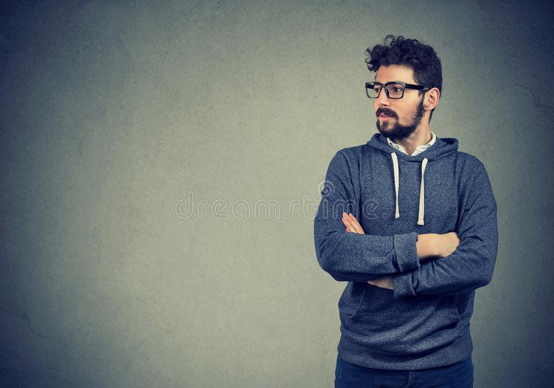 Portrait of a confident handsome hipster man royalty free stock image