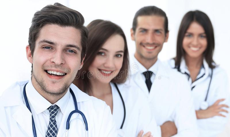 Portrait of confident happy group of doctors stock image