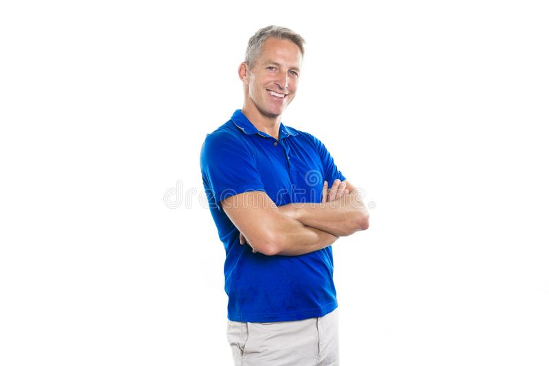 Portrait of confident mature man standing on white background royalty free stock images
