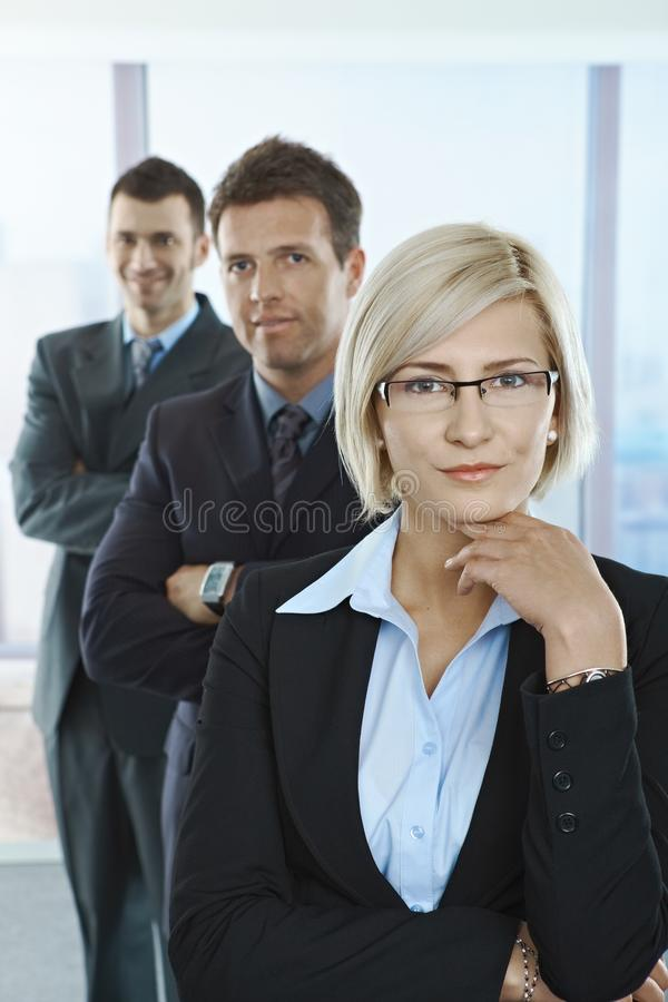 Portrait of confident professionals. Standing in a row with arms folded in office stock photos