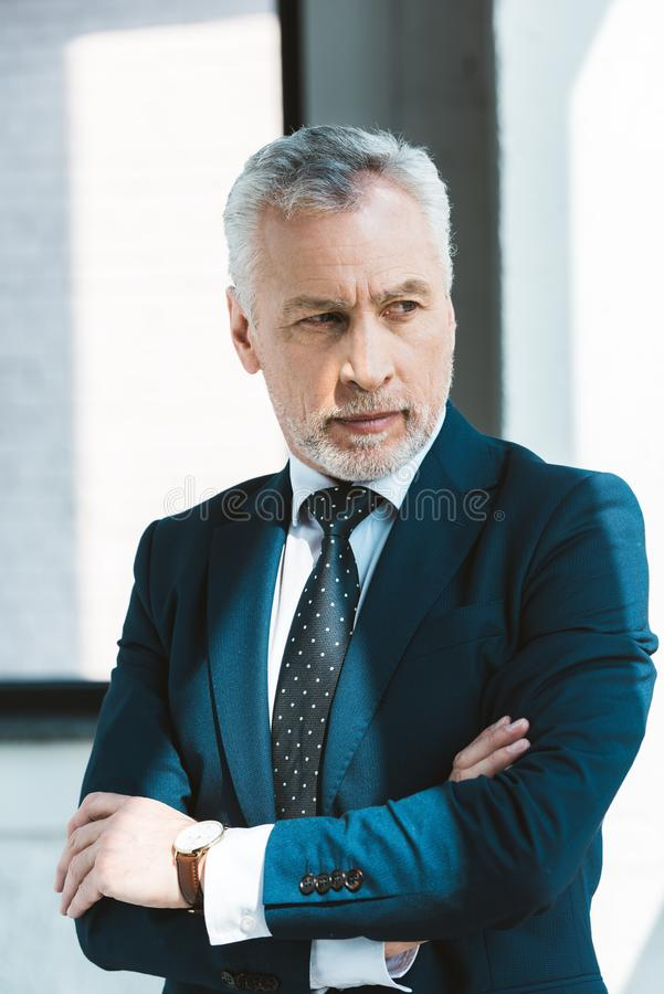 Portrait of confident senior businessman. Standing with crossed arms and looking away royalty free stock photos