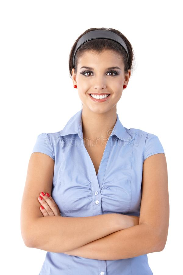 Download Portrait Of Confident Smiling Woman Stock Photo - Image of brunette, face: 24455928
