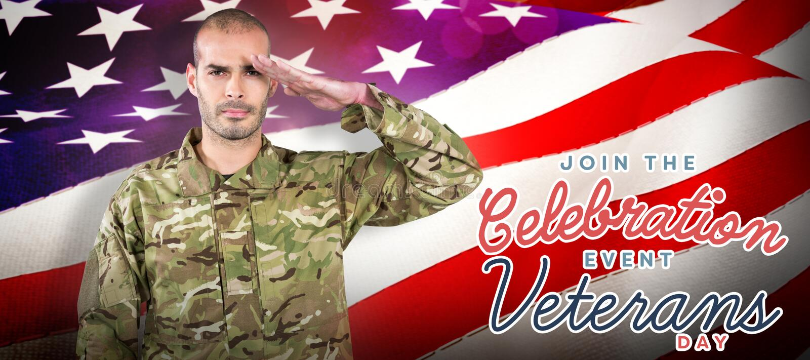 Composite image of portrait of confident soldier saluting royalty free stock photo