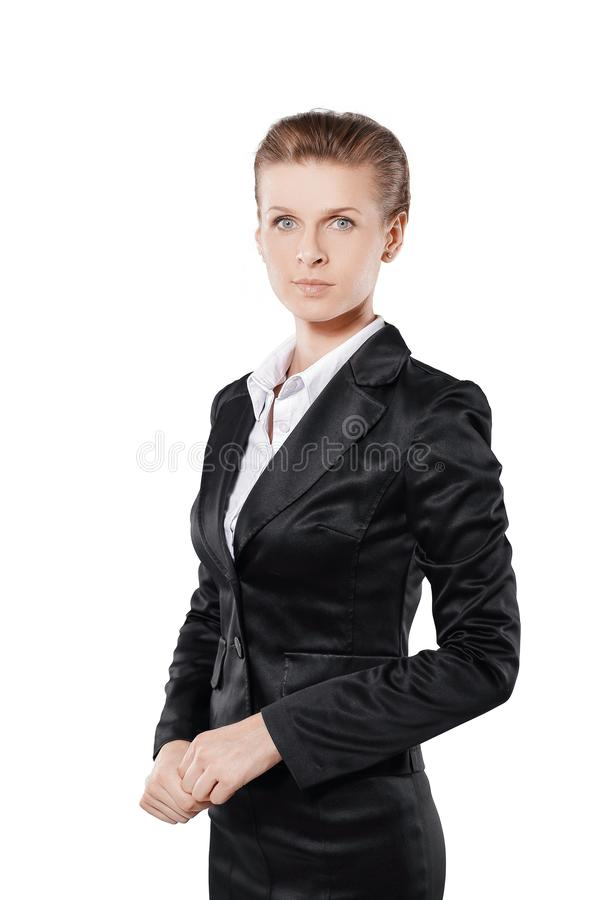 Portrait of confident young business woman in black business suit. Isolated on white background royalty free stock image