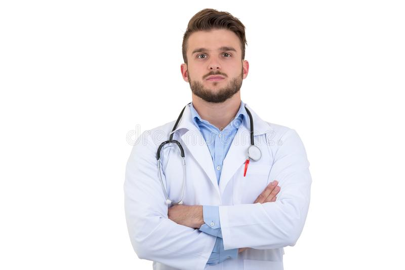 Portrait of confident young medical doctor on white background stock photos