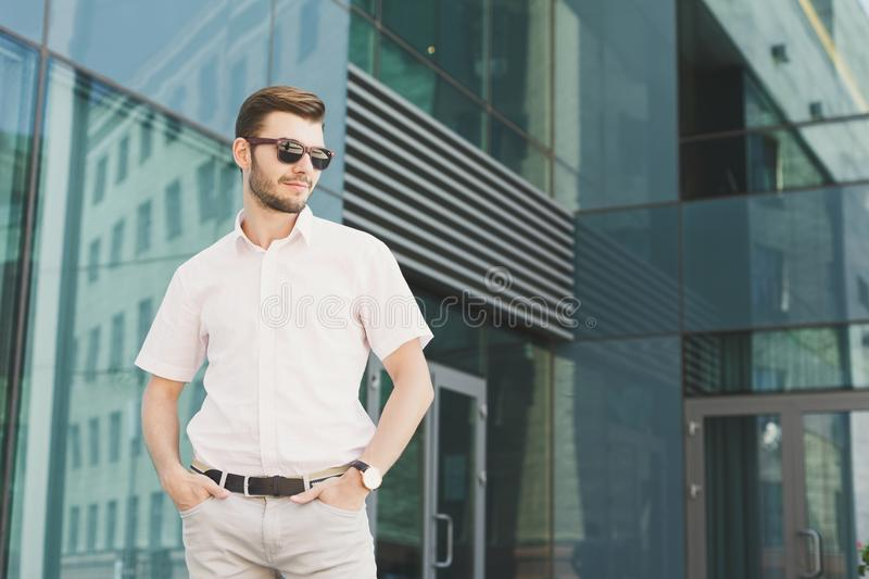 Portrait of confident young stylish businessman royalty free stock image