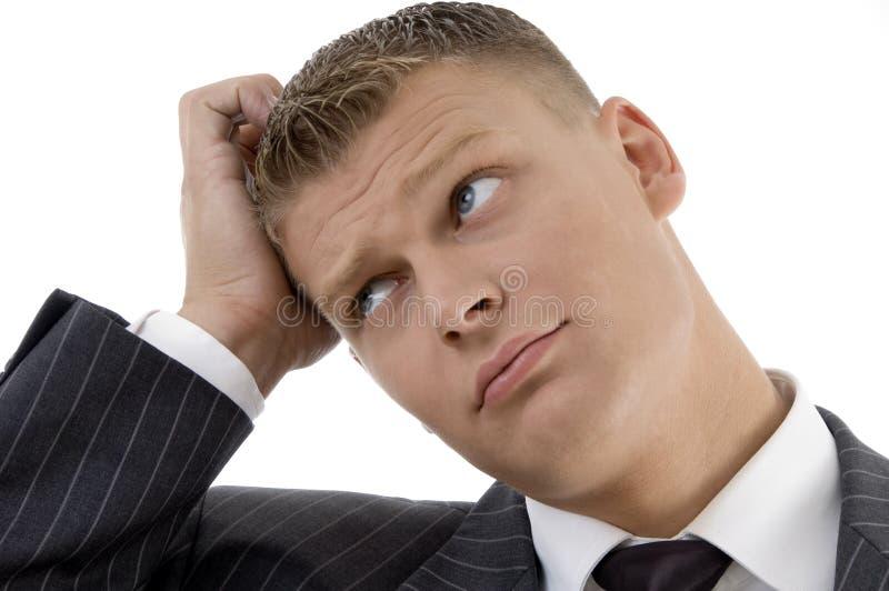 Portrait of confused businessman stock photos