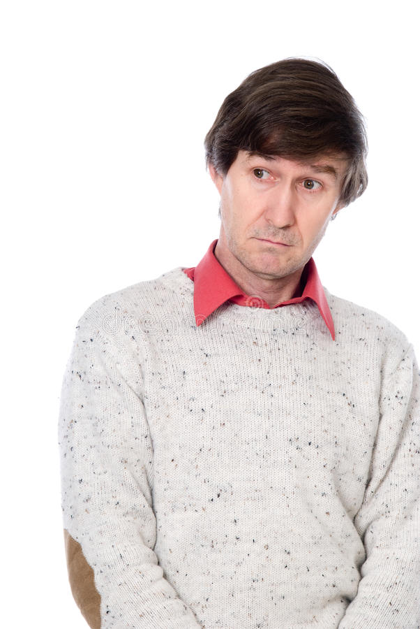 Portrait Of A Confused Man Looking To The Side. Royalty Free Stock Photo