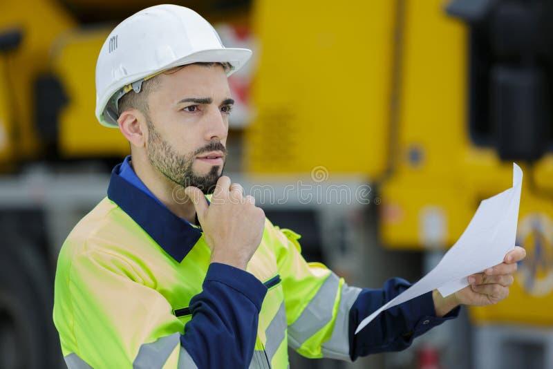 Portrait construction heavy equipment operator royalty free stock photo