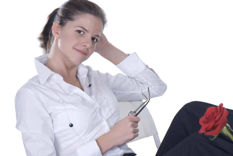 Download Portrait Of A Contemplative Business Woman Smiling Stock Photo - Image: 11802366