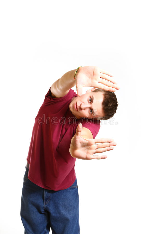 Portrait of cool breakdance style dancer isolated on white background royalty free stock photo