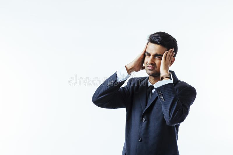 Headache for too much thinking stock photography