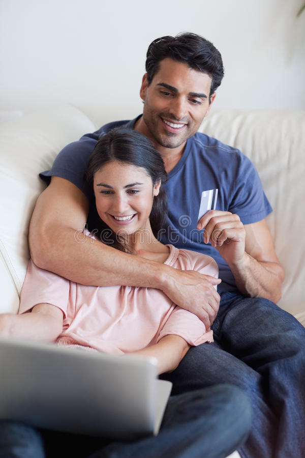 Download Portrait Of A Couple Booking Their Holidays Online Stock Image - Image: 22236021