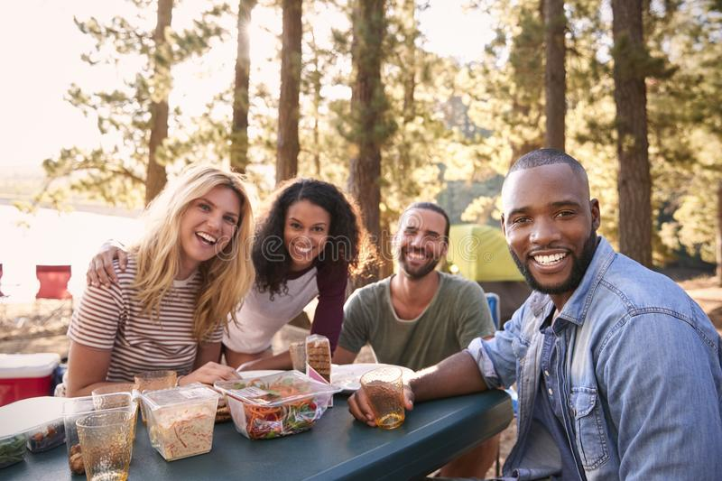 Portrait Of Couple With Friends Camping By Lake In Forest royalty free stock photography