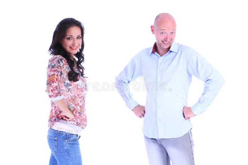 Portrait of couple.Man and woman looking to a camera. Over white royalty free stock photos