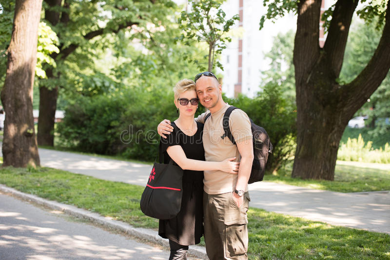 Portrait of a couple in the park stock image