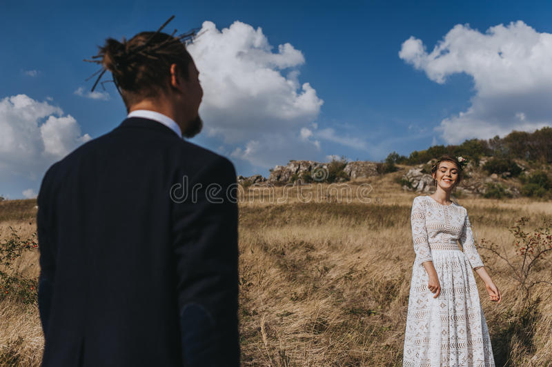 Portrait couples, tenderness love nature stock image