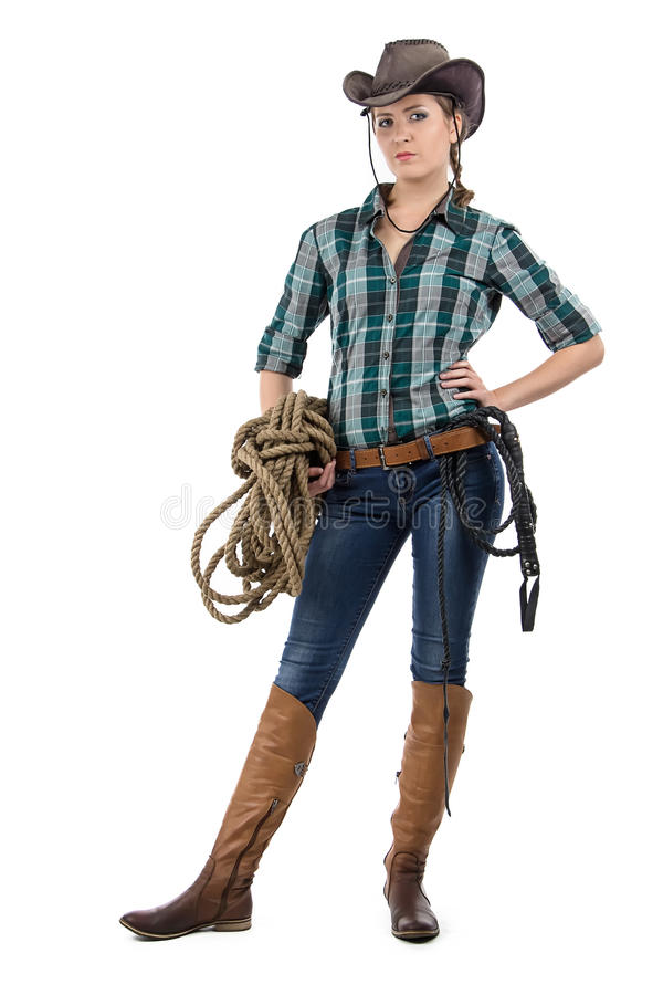 Portrait of cowgirl with the twine. On white background royalty free stock photography