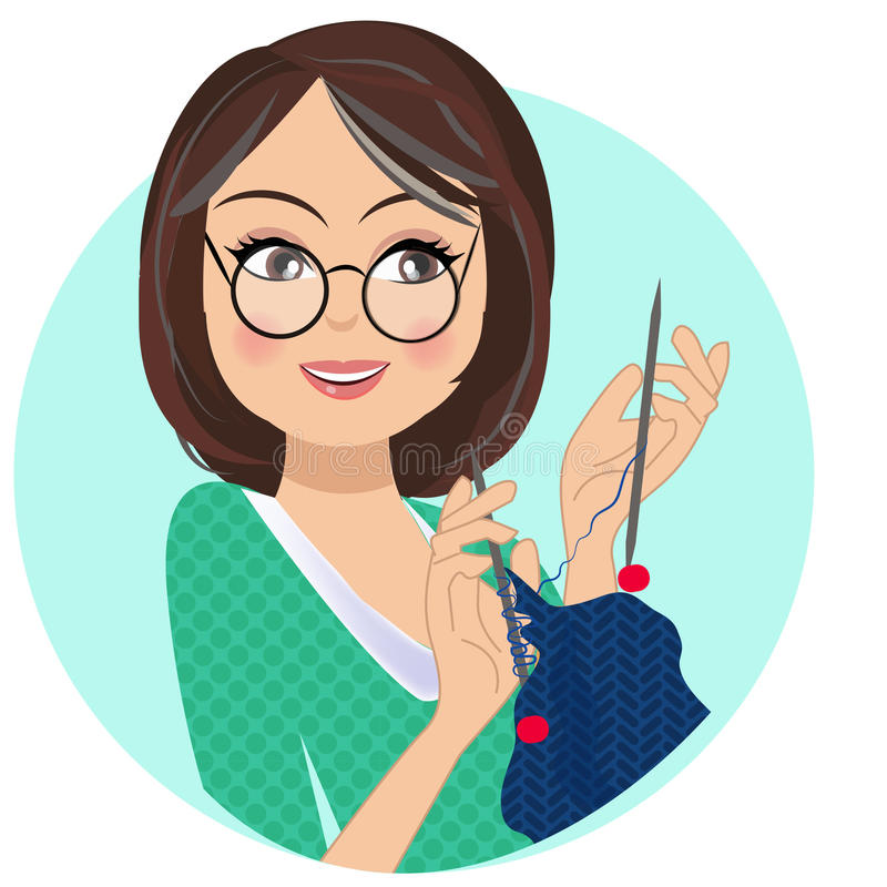 A portrait of a crafting woman knitting. Using needle and knitting yarn having a bob hair cut in her early forties or middle aged woman stock illustration