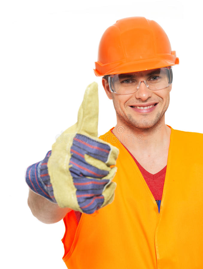 Download Portrait Of Craftsman With Thumbs Up Sign Stock Photo - Image of isolated, background: 32642126