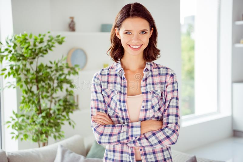 Portrait of creative smart attractive lady youth have free time career clever intelligent millennial good-looking trendy stock images