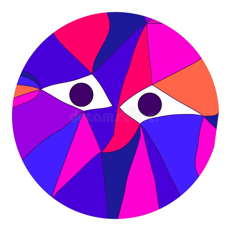 Portrait of creature with eyes in cubism. Vector illustration of abstract background for design. Polygonal Mosaic. Triangular low poly flat style. Portrait of vector illustration