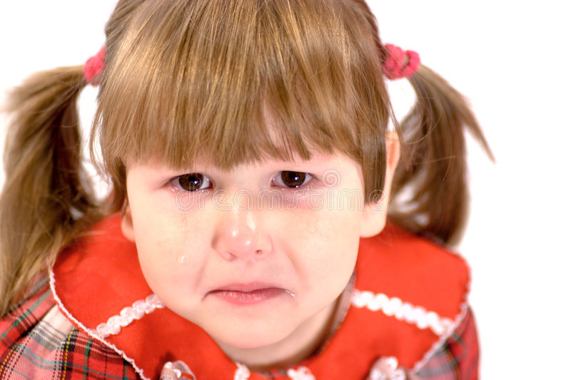 Portrait of crying little girl royalty free stock photos