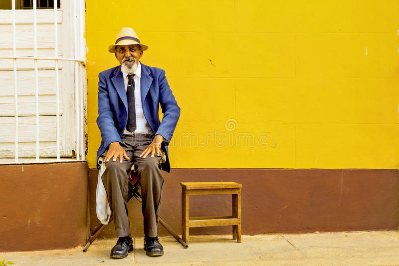 Portrait of a Cuban man with cigar, Trinidad, Cuba royalty free stock images
