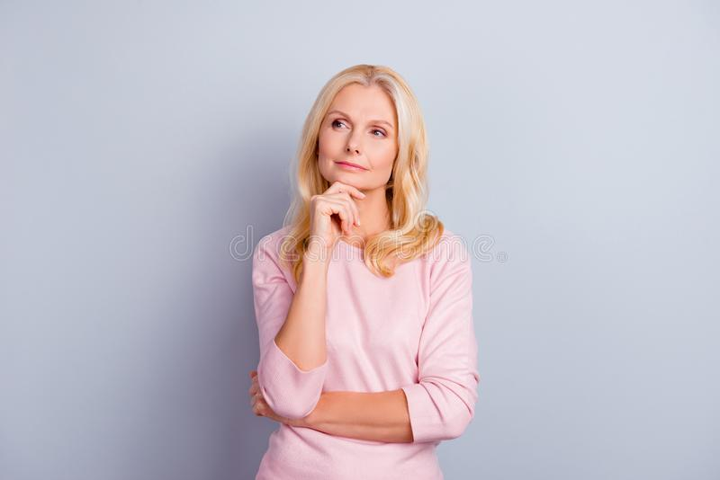 Portrait of cunning curious emotion expressing pretty charming c stock image