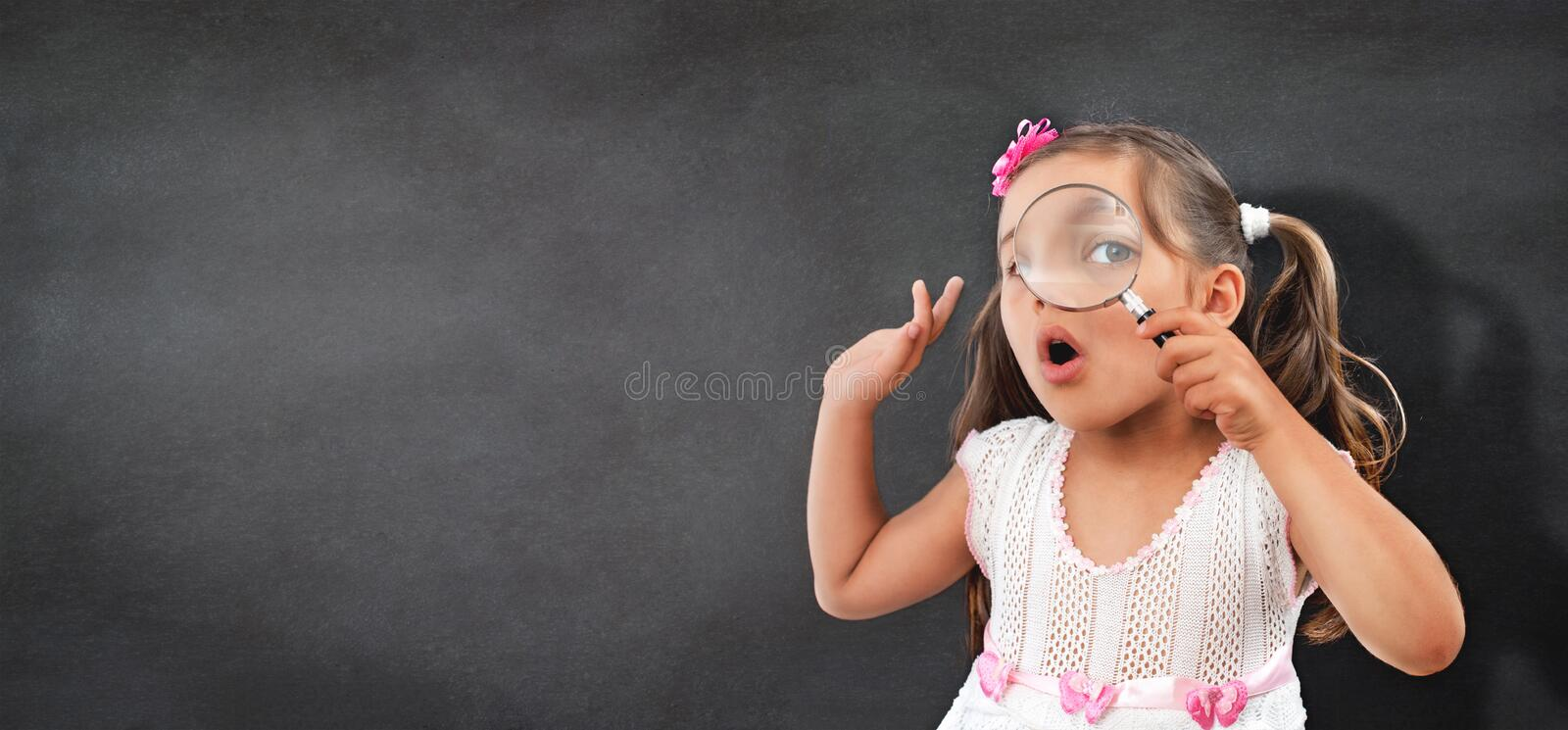 Portrait of Curious Little Child Girl royalty free stock image