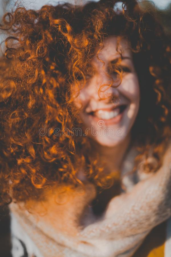 Portrait of Curly Haired Girl stock images