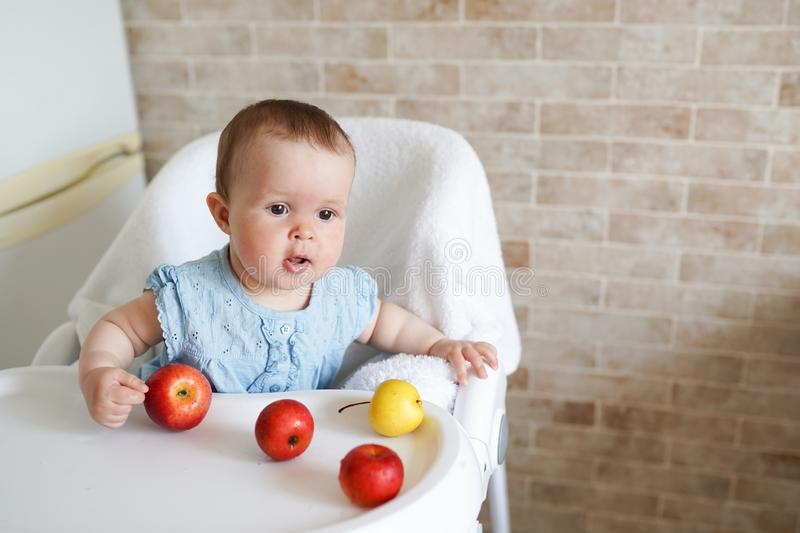 Portrait of cute adorable smiling laughing Caucasian child kid girl sitting in high chair eating apple fruit. Everyday lifestyle. stock images