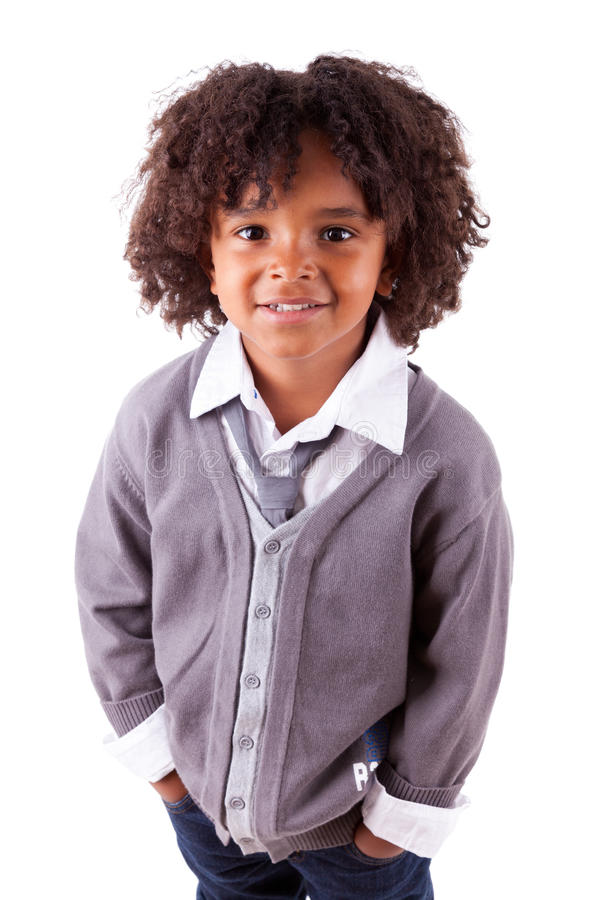 Download Portrait Of A Cute African American Little Boy Stock Image - Image of haircut, south: 25499407