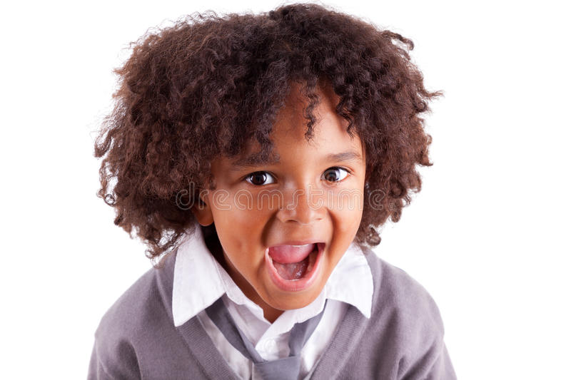 Download Portrait Of A Cute African Little Boy Screaming Stock Photo - Image: 25458038
