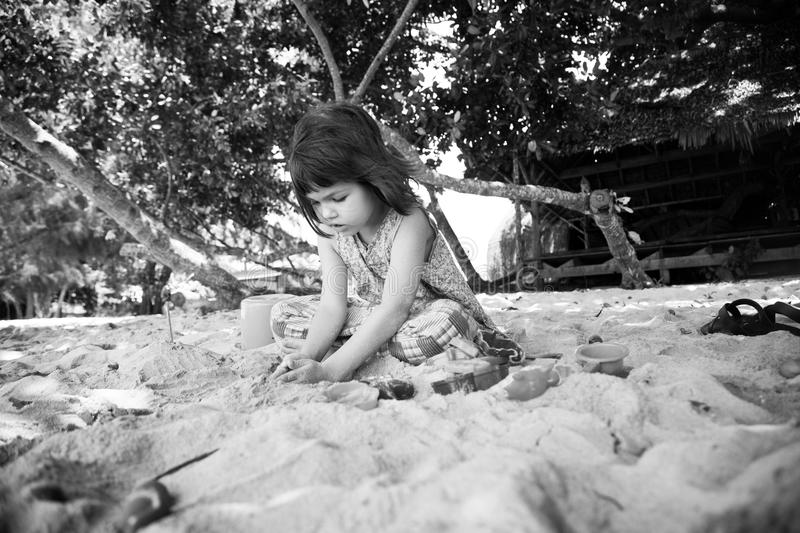 Portrait of cute asian girl on the beach royalty free stock image