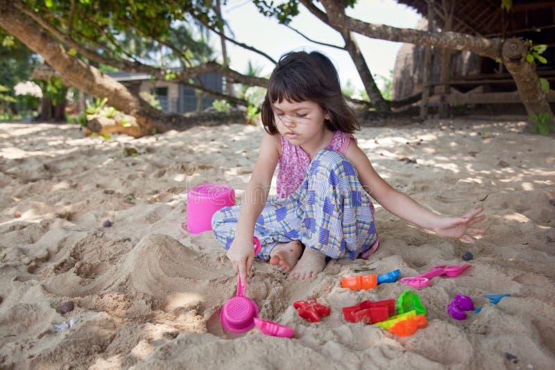 Portrait of cute asian girl on the beach stock photos